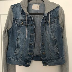 Life In Progress jean jacket with grey sleeves